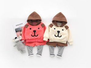 Wholesale baby clothes bear suit resale online - New baby boys and girls hooded bear sweater ear fake two pants suit Clothing Sets