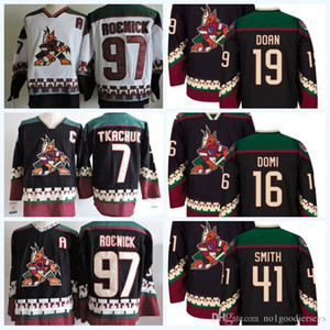 Wholesale 2018 Phoenix Coyotes 19 Shane Doan 97 Jeremy Roenick 7 Keith Tkachuk Hockey Jersey Ice Winter Jersey All Stitched Black White