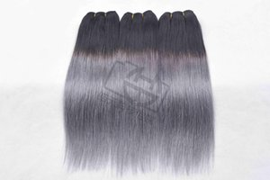 Wholesale greying hair for sale - Group buy Ombre Color b Grey Straight hair Brazilian Straight human hair bundles Ombre Brazilian Human Hair Weave Non remy