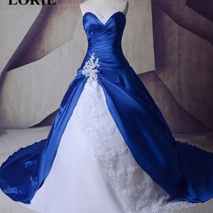 Wholesale LORIE 2019 Gothic Royal Blue Cathedral Train Wedding Dresses With White Lace Ball Gown Custom Made High Quality Bride Gown