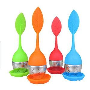 Creative Silicone Tea Infuser Leaf Stainless Steel Strainer Filter Infuser With Drip Tray For Loose Leaf Grain Tea Cups Mugs Teapots