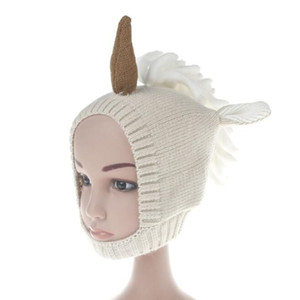 Wholesale hand crochet baby hat resale online - Toddler Unicorn Ear Flap Crochet Hat Children baby Crochet Hat cute Unicorn Kids Hand Knitted Hat boy or girl BY0358
