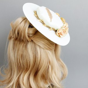 Wholesale 2019 Hotsale FEIS British banquet feather flower hat bride wedding dress studio stage performance show photo head jewelry