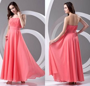 Simple Cheap Chiffon Bridesmaid Dress Watermelon Red Strapless A Line Floor Length Maid of Honor Wedding Guest Gowns Cheap Long ZPT347 on Sale