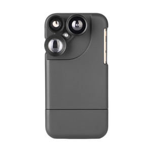 ET Rotary Phone Lens Case Multifunctional Macro Fisheye Wide Angle Lens Phone Case Lenses Full Coverage for iPhone 6 7 8 Plus