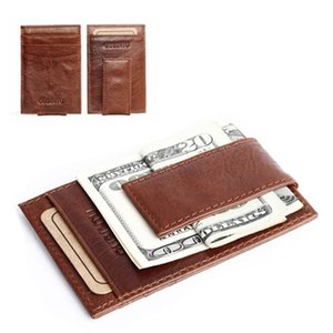 Wholesale Brand new fashion Money Clip High Quality Leather Magnet clip Ultrathin Pocket Clamp Case ID card case Gift