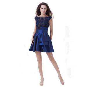 Wholesale Scoop Neck Fashion Royal Blue Party Dress With Beaded Appliques Above Knee Length Attractive Ladies Short Dress