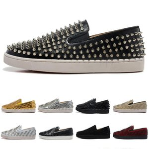 Wholesale Top Quality Luxury Designer Brand Red Bottoms Men Women Studded Spikes Flats Shoes Wedding Party Lovers Genuine Leather Casual Sneakers
