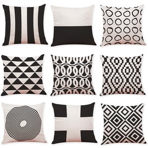 Black and White Geometric Linen Cushion Cover Home Office Sofa Square Pillow Case Decorative Cushion Covers Pillowcases 2018 New(18*18inch) on Sale