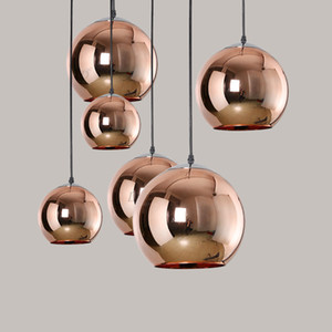 Wholesale mirror lighting resale online - Full set LED Pendant Lamp Copper Sliver Shade Mirror Chandelier Light E27 Bulb Modern Christmas Chandeliers Glass Ball droplight Lighting