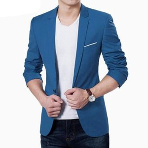 Wholesale Mens Korean slim fit fashion cotton blazer Suit Jacket black blue plus size M to XL Male blazers Mens coat Wedding