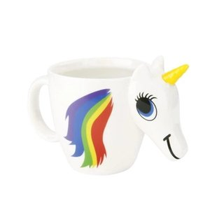 Wholesale Hot sales Cartoon Unicorn Mug Unicorn Discoloration Cup D Ceramic Coffee Cup Cute Gift color changing Magical Horse Cups