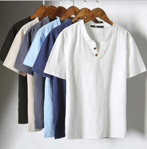 Mens Pullover Linen Shirts Short Sleeve Summer Breathable Mens Quality Casual Shirts Slim fit Solid Cotton Shirts Men m-5xl on Sale