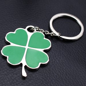 2018 High Quality Green Leaf Keychain Fashion Creative Beautiful Four Leaf Clover Steel Lucky Key Chain Jewelry Keyring