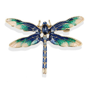 Wholesale Amazing Gold Plated Alloy Adorable Colors Enamel Dragonfly Brooch Special Gift Broach For Friends High Quality Women Garment Jewelry