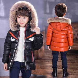 18M-13T Boys Winter Down Cotton Jacket Leather Jackets Parkas Hooded Patchwork Warm Children's Outerwear Padded Jacket 2018 New