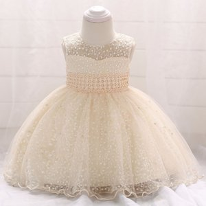 2019 new collection Baby no sleeves Christening Gown lace Baby full month Star embroidered princess skirt beads champagne wedding dress