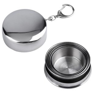 Wholesale Stainless Steel Portable Outdoor Travel Camping Folding Collapsible Cup Metal Telescopic Keychain ml WX9