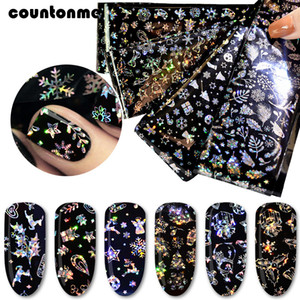 Wholesale 4Sheets Laser Nail Transfer Foil Stickers Nail File Orange Stick Kit Christmas Snowflakes Designs Holographic Black Decals Set