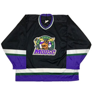 Wholesale free shipping mens Rare Minnesota Moose Bauer Ice Hockey Jersey Embroidery Stitched Customize any number and name