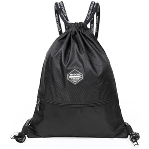 Wholesale Drawstring pocket drawstring backpack canvas male student bag simple lightweight casual sports shopping bag small backpack