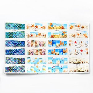 Mtssii 1 Big Sheet12designs Nail Art Water Transfer Decal Summer Sea Beach Styling Cartoon Design Adhesive Glue Manicure Sticker