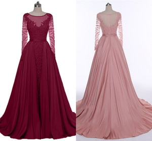 2019 High Quality Wine Red Evening Dresses Heavy Handmade Long Sleeve Dance Party Dresses bean Paste Long Tail Prom Dresses HY290 on Sale