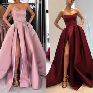 Wholesale Cheap Burgundy Split Prom Dresses Aline Sexy Strapless Sleeveless Satin Dresses Sweep Train Simple Evening Party Dresses Zipper Back Modest
