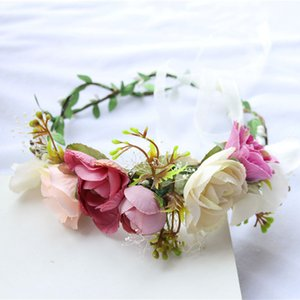 Wholesale Women Flora Headband Artificial Flower Girl Crown Holiday Wreath Bride Headpiece Tiara Hairband Wedding Hair Accessories