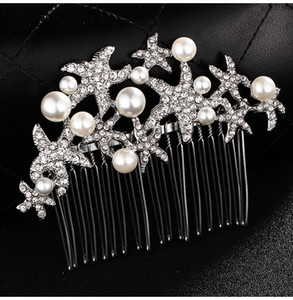 Wedding Bridal Hair Comb Starfish Bridesmaid Prom Crystal Jewelry Combs Silver Plated Hair Accessories JCH032