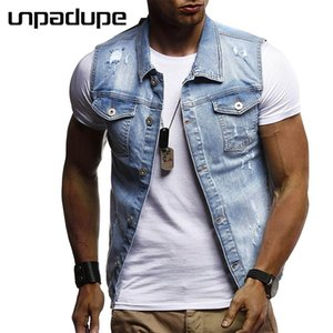 Wholesale New Brand Clothing Men Jacket Washed Holes Bomber Jacket Tactical Casual Slim Cowboy Male Polyester Sleeveless Men