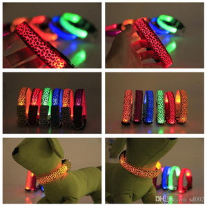 Wholesale Dog Collars Pet Supplies Leopard Printing Luminous Necklece LED Light Up Dogs Leash Adjustable Size Many Colors lh ZZ