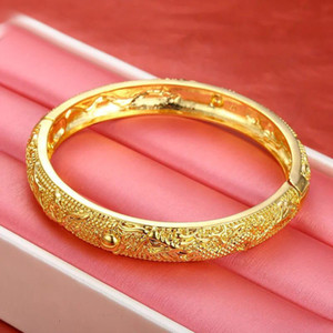 Wholesale MGFam BA Bridal Jewelry Dragon and Phoenix Bangles Bracelets for Women Wedding cm k Pure Gold Plated Classic Style