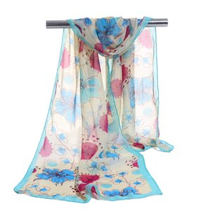 Wholesale hijab Fashion Flower Print scarves female shawls super silk chiffon korean decorative fabric air conditioning package belts