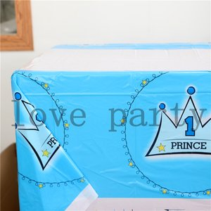 Wholesale Blue Prince Crown Theme Happy Birthday Tablecover Kids Favors Cartoon Decoration Tablecloth Baby Shower Party Supplies