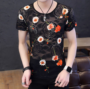 Wholesale Mens Clothing Hollow Out Lace Rose Embroidery New Design Fashion T shirt Crew Neck Breathable Male Tops Size M XL