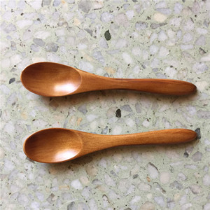 100 Pieces Small Wood Coffee Tea Spoon 15*3cm Sugar Salt Jam Mustard Ice Cream Spoons Handmade Brown Wooden Spoon for Home Restaurant Hotel on Sale
