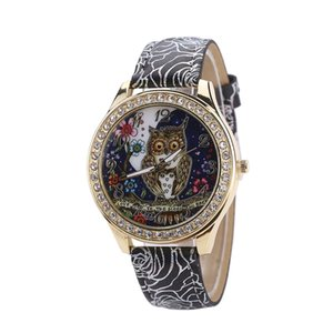 Wholesale Male And Female Universal Cartoon Owl Couple Models Diamond Quartz Watch DROPSHIPPING New Arrival Freeshipping Hot Sales
