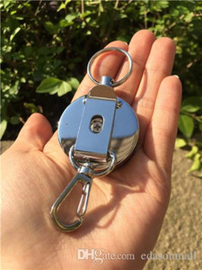 Wholesale Promotion Men Outdoor Safety Metal Retractable Key Chain Keys Reel Badge Holder W Belt Clip with Stainless Cable B109Q