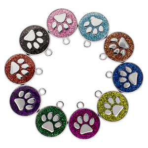 Wholesale Hot sale Hang pendant Footprint Bling Enamel Cat Dog Bear Paw Prints fit Rotating Key Chain Key rings bag Jewelry Making HC459