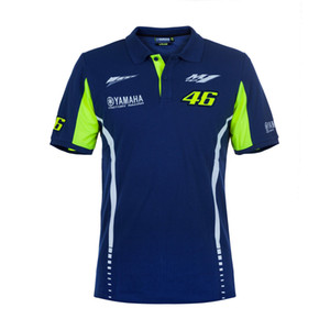 Moto GP Riding for Yamaha Team Polo Shirt MENS Motorcycle Racing Blue T-shirt on Sale