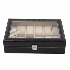 Wholesale 12 Slots Grid PU Leather Watch Box Display Box Jewelry Storage Organizer Case Locked Boxes Retro Saat Kutusu Caixa Para Relogio