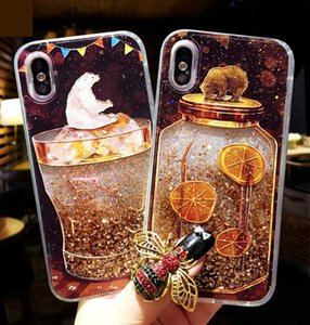 Wholesale For iPhone X Plus S Liquid Phone Case Bling Juice bottle Cup ice cream soda bear dolphin Quicksand Soft Edge PC Back Shining Cases