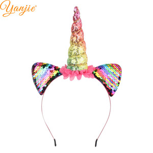 Wholesale Funky Rainbow Glitter Sequins Padded Horse Horn Ears Women Girl Party Hairband Charming Floral Headband Hair Accessories