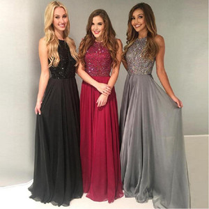 Wholesale Beautiful Black Red Jewel Top Beaded Chiffon Prom Dresses Floor Length Long Gorgeous Evening Gowns Cheap Plus Size Arabic 2018 formal Party