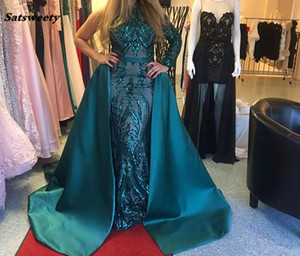 Wholesale Luxury Dark Green Evening Dresses 2019 One Shoulder Zuhair Murad Dresses Mermaid Sequined Prom Gown With Detachable Train Custom Made
