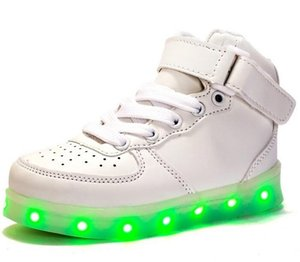 Wholesale New arrival High quality girls boys LED Shoes USB high top colorful Light Casual shoes drop shipping NO906