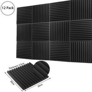 12PCS Fireproof Acoustic Foam Soundproof Board Studio Sound Proofing Room Treatment Absorption Panels 12x12x1""