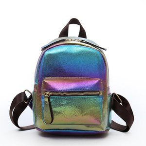 2018 hot sale Bright Color Leather Backpacks for Teenage Girls Female School Shoulder Bag New Tide Backpacks