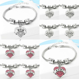 Wholesale 54 types Diamond love Heart charm bracelet crystal family member Mom Daughter Grandma Believe Faith Hope best friend wristband for women